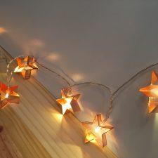 Cordão de Luz Estrela Metálico Rosado G