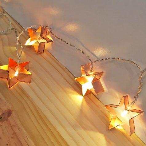 Cordão de Luz Estrela Metálico Rosado P