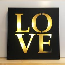 Quadro LED LOVE Preto e Dourado